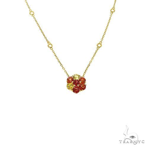 Fire Sapphire Flower Necklace 67221 Multicolor SAPPHIRE