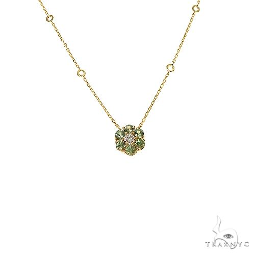 Green Sapphire Diamond Flower Necklace 67222 Multicolor SAPPHIRE