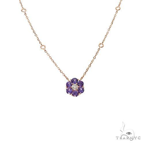 Purple Sapphire Diamond Flower Necklace 67223 Multicolor SAPPHIRE