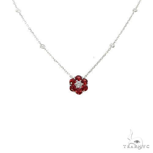 Blood Red Sapphire Diamond Flower Necklace 67224 Multicolor SAPPHIRE