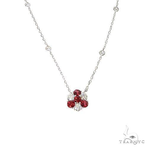Candy Cane Sapphire Diamond Flower Necklace 67225 Multicolor SAPPHIRE