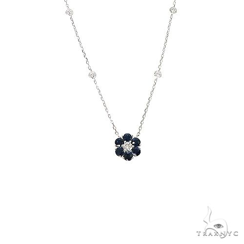 Water Sapphire Diamond Flower Necklace 67226 Multicolor SAPPHIRE
