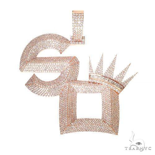 Custom Made Diamond 'SO' Crown Pendant 67229 Metal