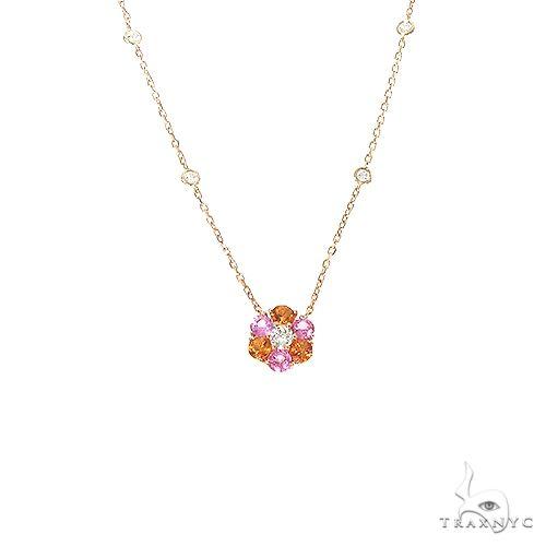Pink Orange Sapphire Diamond Flower Necklace 67230 Multicolor SAPPHIRE