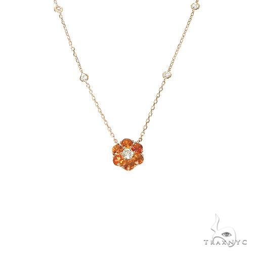 Orange Sapphire Diamond Flower Necklace 67231 Multicolor SAPPHIRE