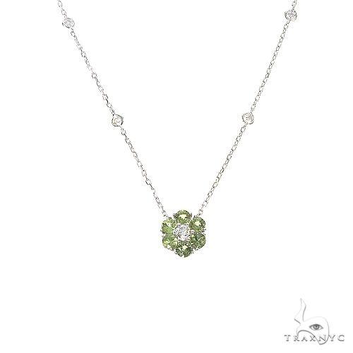 Green Sapphire Diamond Flower Necklace 67232 Multicolor SAPPHIRE