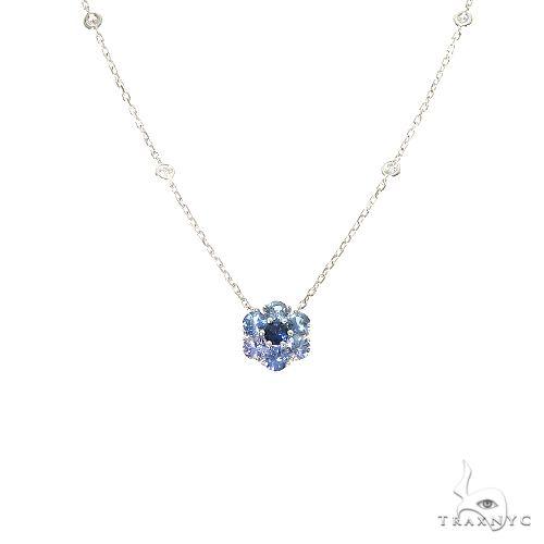 Ocean Blue Sapphire Diamond Flower Necklace 67233 Multicolor SAPPHIRE