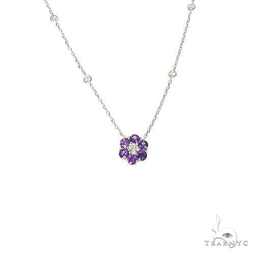 Purple Sapphire Diamond Flower Necklace 67234 Multicolor SAPPHIRE