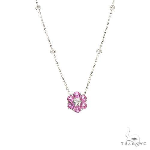 Cherry Blossom Sapphire Diamond Flower Necklace 67235 Multicolor SAPPHIRE