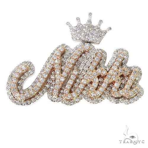 Custom Made Crown Name Diamond Pendant 67250 Metal