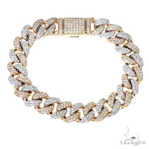 10K Gold  2-Tone Miami Cuban Diamond Bracelet 67253 Diamond