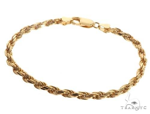 Hollow Rope Link Bracelet 10K Yellow Gold 8 Inches 3.8mm 3.1 Grams 67284 Gold