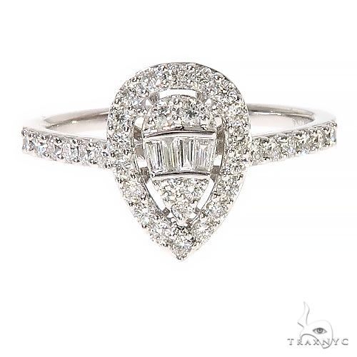 18K Gold Pear Shape Baguette Diamond Engagement Ring 67297 Style