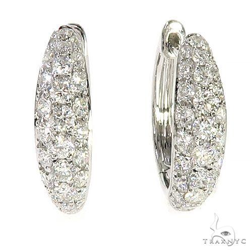 18K Gold Diamond Hoop Earrings 67298 Stone