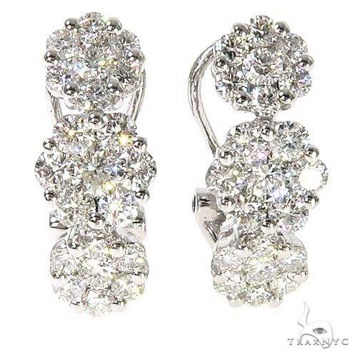 18K Gold Flower Diamond Hoop Earrings 67299 Stone