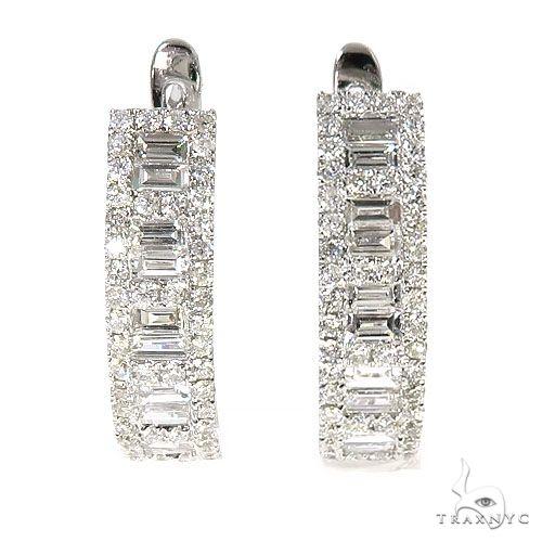 18K Gold Baguette Diamond Hoop Earrings 67300 Stone
