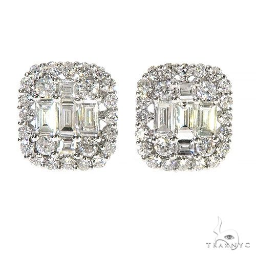 18K Gold Baguette Diamond Earrings 67302 Stone