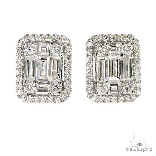 18K Gold Baguette Diamond Earrings 67303 Stone