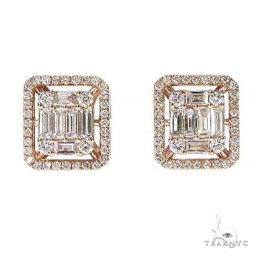 14K Gold Baguette Diamond Earrings 67304 Stone