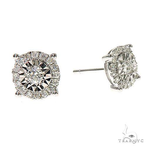 18K Gold Diamond Earrings 67305 Stone