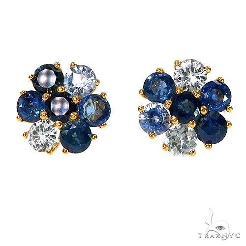Large Ocean Blue Sapphire Diamond Flower Earrings 66893 67314 Multicolor SAPPHIRE