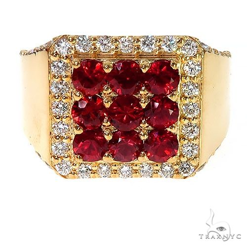 Red 3x3 Sapphire Diamond Ring 67319 Multicolor SAPPHIRE