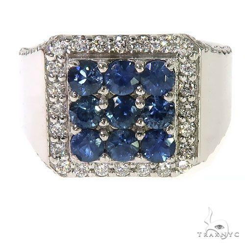 Ocean Blue 3x3 Sapphire Diamond Ring 67320 Multicolor SAPPHIRE