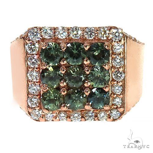 Green 3x3 Sapphire Diamond Ring 67337 Multicolor SAPPHIRE
