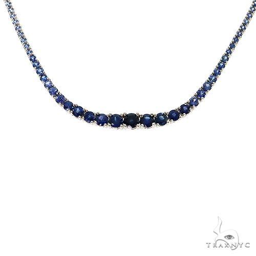 Blue Graduated Sapphire Tennis Chain 67340 Gemstone