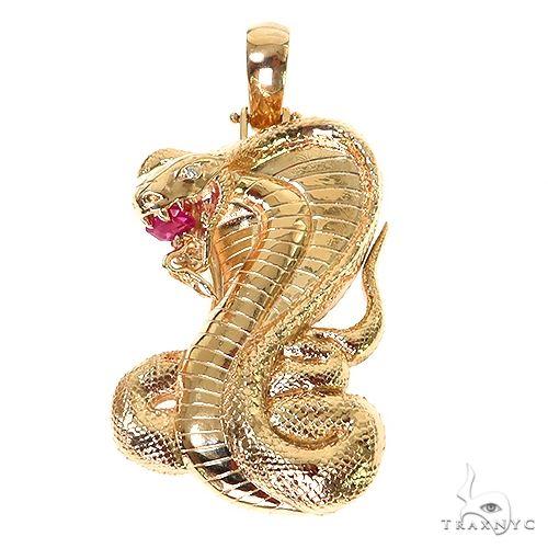 14K Gold Cobra Pendant 67351 Multicolor SAPPHIRE