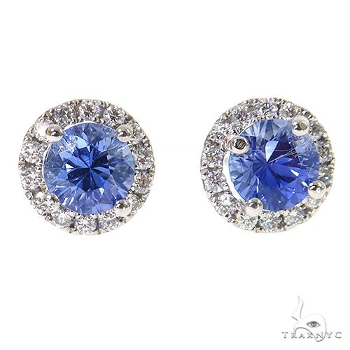 18K Gold Diamond Sapphire Stud Earrings 67354 Multicolor SAPPHIRE