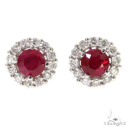 18K Gold Diamond Ruby Stud Earrings 67355 Multicolor SAPPHIRE
