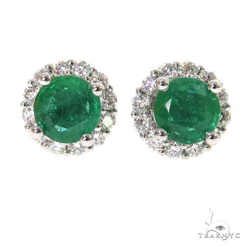 18K Gold Diamond Emerald Stud Earrings 67356 Multicolor SAPPHIRE