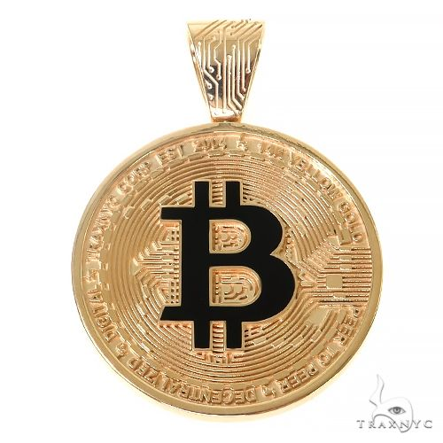 14K Gold TraxNYC Spinning Bitcoin Pendant 67366 Gold Investment Pieces