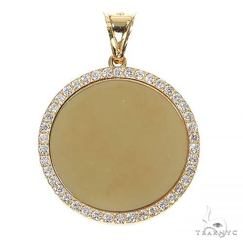 14K Yellow Gold Sweet Memories Collection Large Diamond Photo Pendant 67368 Style