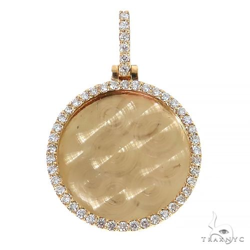 14K Yellow Gold Sweet Memories Collection Large Diamond Photo Pendant 67369 Style