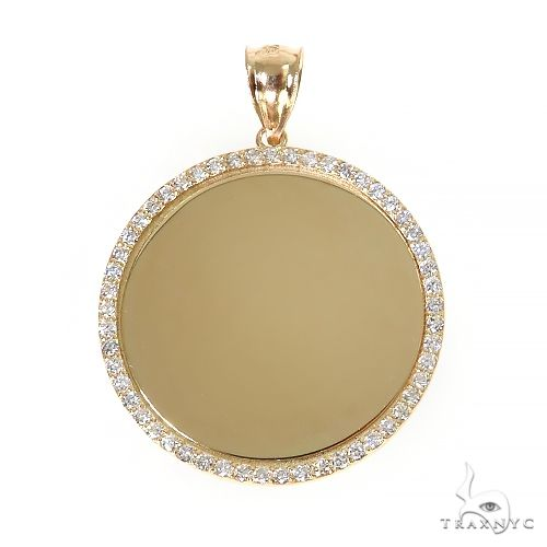 14K Yellow Gold Sweet Memories Collection Large Diamond Photo Pendant 67370 Style