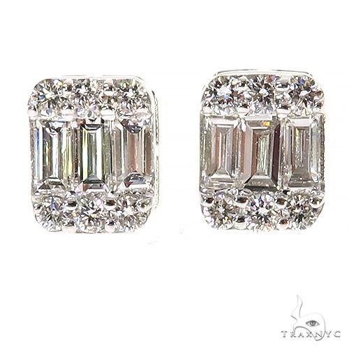 14K Gold Baguette Earrings 67381 Stone