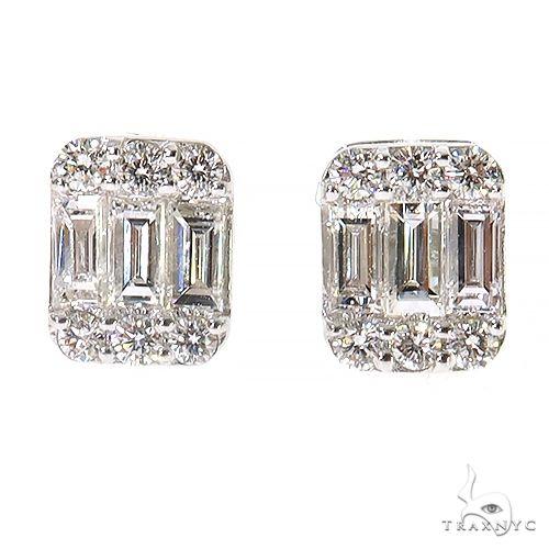 14K Gold Baguette Earrings 67382 Stone