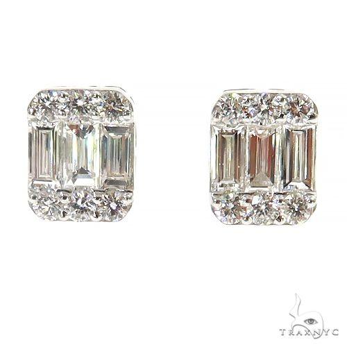 14K Gold Baguette Earrings 67383 Stone