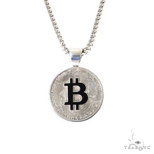.925 Silver TraxNYC Spinning Bitcoin Pendant Chain Set 67384 Metal
