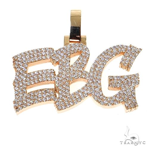 Custom Made Diamond Name Pendant 67391 Metal