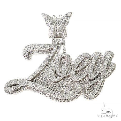 Custom Made Diamond Name Pendant 67392 Metal