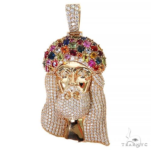 Multi Color Sapphire Crown Diamond Jesus Pendant 67396 Style