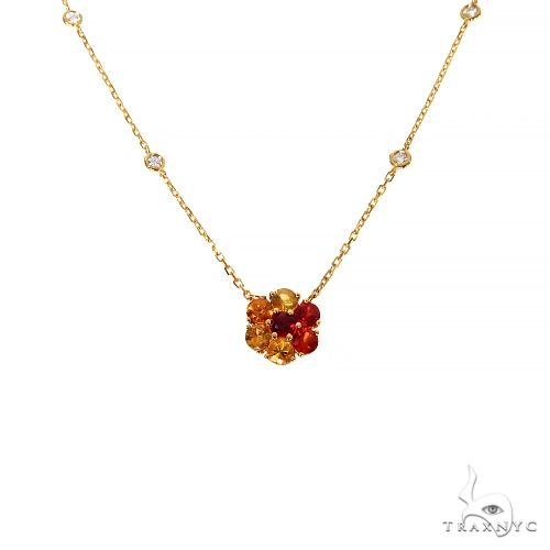 Fire Sapphire Diamond Flower Necklace 67408 Multicolor SAPPHIRE