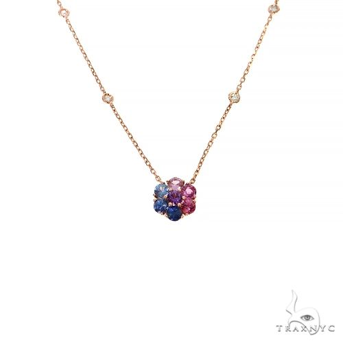 Cotton Candy Sapphire Diamond Flower Necklace 67409 Multicolor SAPPHIRE