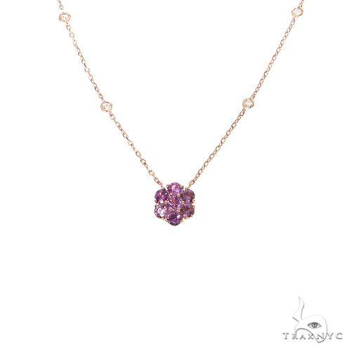 Purple Sapphire Diamond Flower Necklace 67410 Multicolor SAPPHIRE