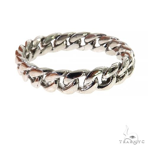 .925 Silver 4-5mm Miami Cuban Link Ring 67412 Metal