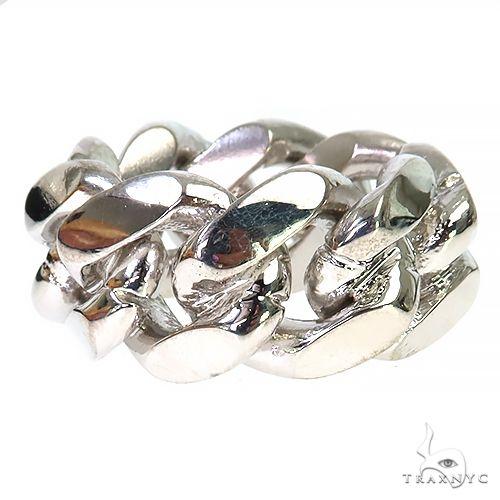 .925 Silver 12-15mm Miami Cuban Link Ring 67414 Metal