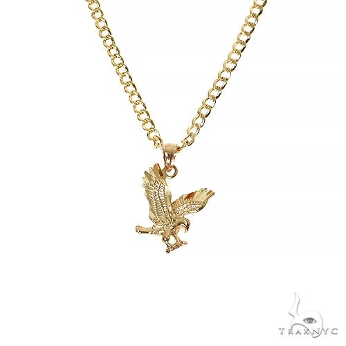 10K Yellow Gold Eagle Pendant Set 67417 Style